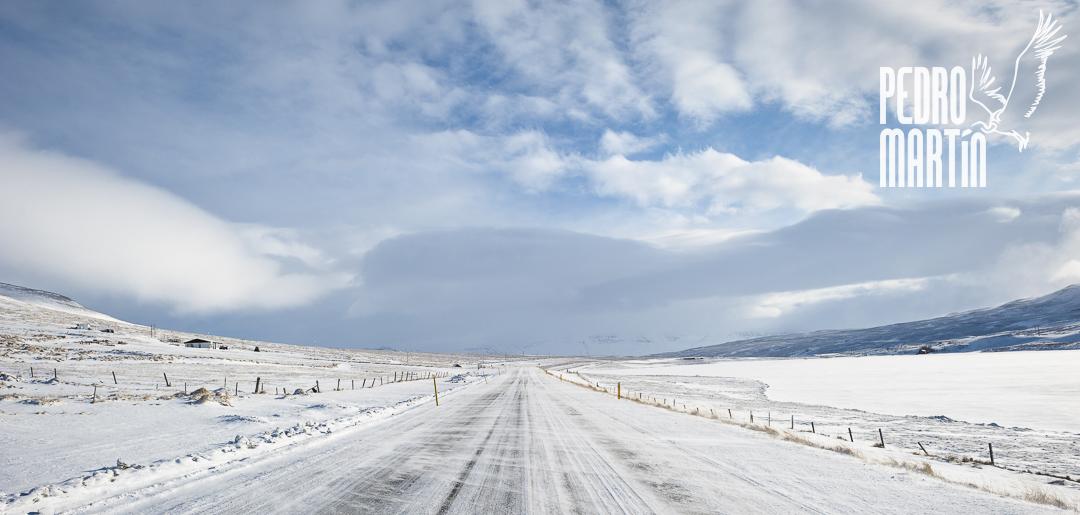 Carretera nevada antes de llegar a Húsavik